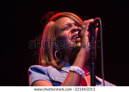 LINCOLN, CA - September 25: Drea Rhenee performs with Michael McDonald on stage at Thunder Valley Casino Resort in in Lincoln, California on September 25, 2015 - stock photo