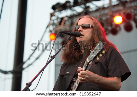 LINCOLN, CA - September 11: Guitarist Danny Johnson of Steppenwolf performs at Thunder Valley Casino Resort in in Lincoln, California on September 11, 2015 - stock photo