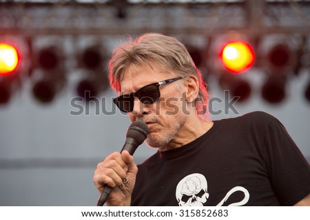 LINCOLN, CA - September 11: Lead singer John Kay of Steppenwolf performs on stage at Thunder Valley Casino Resort in in Lincoln, California on September 11, 2015 - stock photo