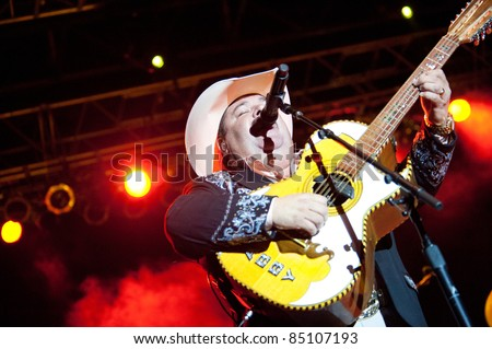 LINCOLN, CA - September 17th: Mario Marichalar with Bravos del Norte performs at Thunder Valley Casino and Resort in Lincoln, California on September 17th, 2011 - stock photo