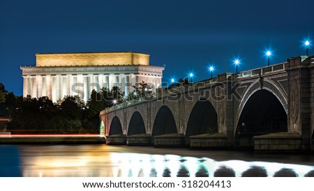 Lincoln Memorial and Arlington Bridge, in Washington DC, by night - stock photo