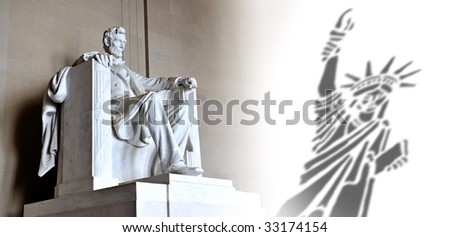 Lincoln Memorial and Liberty Statue - stock photo