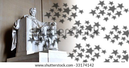 Lincoln Memorial and stars - stock photo