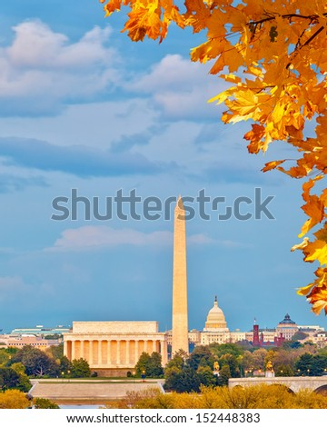 Lincoln memorial and US Capitol, Washington DC - stock photo