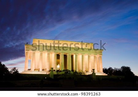 Lincoln Memorial at night, Washington DC USA - stock photo