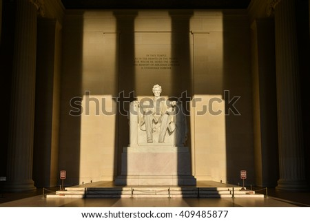 Lincoln Memorial in shadows - Washington DC, United States - stock photo