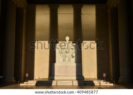 Lincoln Memorial in shadows - Washington DC, United States - stock photo