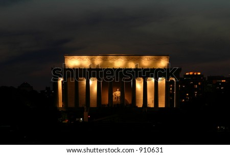 lincoln memorial monument at night - stock photo