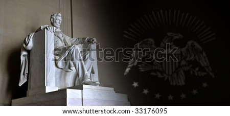 Lincoln Memorial with US eagle - stock photo