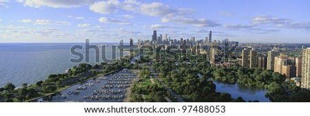 Lincoln Park, Diversey Harbor. Lake Michigan is to the left - stock photo