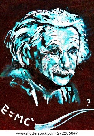 LINCOLN, UK - APRIL 9, 2015: Graffiti depicting famous scientist Albert Einstein decorates grunge wall in the city centre of Lincoln, England.  - stock photo