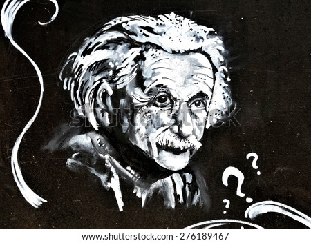 LINCOLN, UK - APRIL 9, 2015: Graffiti depicting famous scientist Albert Einstein decorates wall in the centre of Lincoln, England. Einstein was a famous physicist known for its Theory of Relativity - stock photo