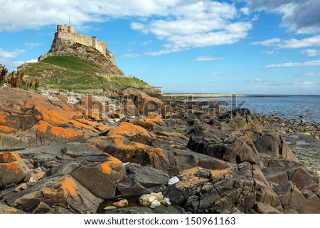 Lindisfarne castle on the Holy Island, Northumberland, England - stock photo