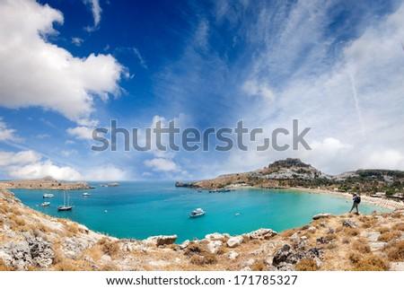 Lindos bay, Rhodes island, Greece - stock photo