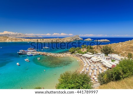 Lindos beautiful bay view from above sunny bright day Rhodes Greece - stock photo