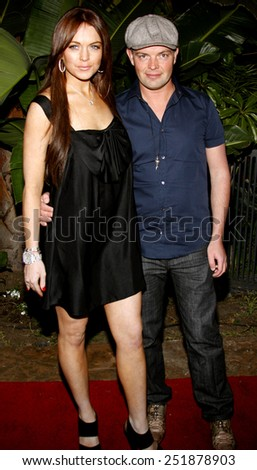 Lindsay Lohan and Claus Hjelmbak attend the Scandinavian Style Mansion held at the Private Residence in Beverly Hills, California, United States on March 14, 2008.  - stock photo