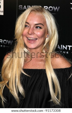 Lindsay Lohan at the Saints Row: The Third Game Pre-Launch Event, Supperclub, Hollywood, CA. 10-12-11 - stock photo