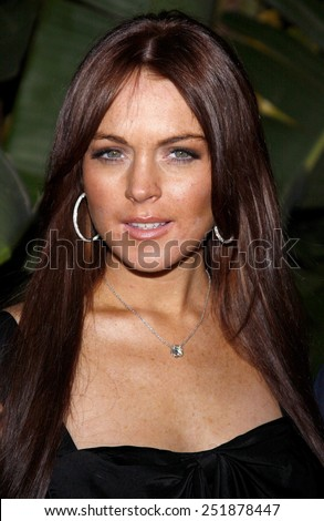 Lindsay Lohan attends the Scandinavian Style Mansion held at the Private Residence in Beverly Hills, California, United States on March 14, 2008.  - stock photo