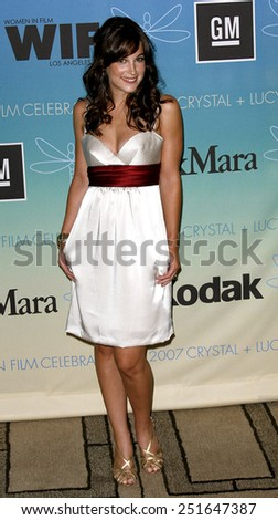 Lindsay Sloane attends Women In Film Presents The 2007 Crystal and Lucy Awards held at the Beverly Hilton Hotel in Beverly Hills, California, California, on June 14, 2006.  - stock photo