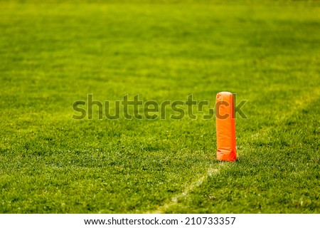 Line and end zone pylon in american football - stock photo