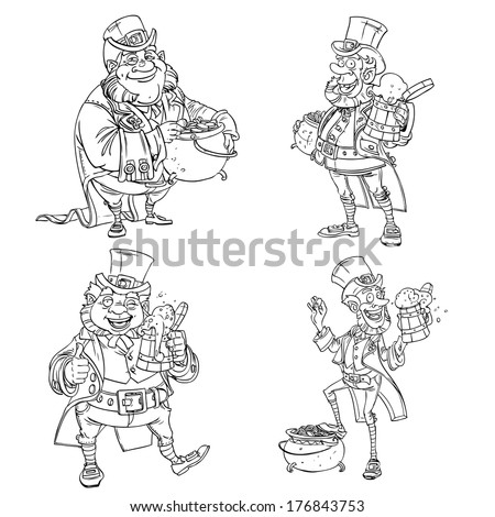 Line art coloring Leprechaun with beer and gold - stock photo