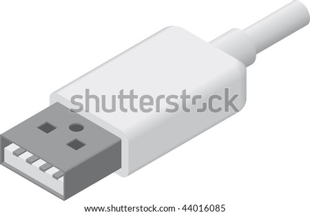 line art illustration of a USB A plug/cable in isometric view - stock photo
