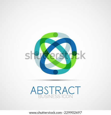 Line design logo, geometric abstract business identity icon, connected lines, symmetric loop logotype - stock photo