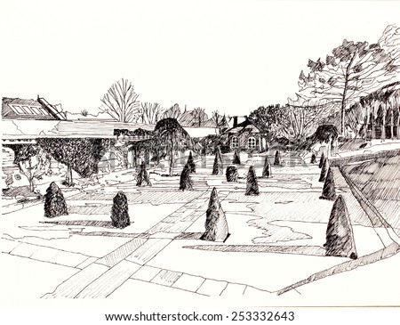 Line drawing of the Historic Gardens, Wentworth Woodhouse, South Sheffield, England, UK (created with the brush tool in Photoshop) - stock photo