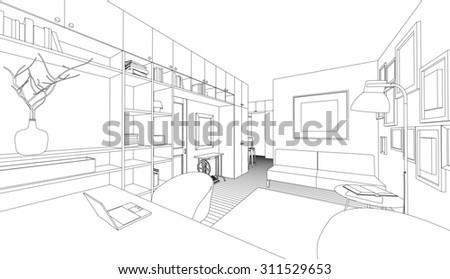 Line drawing of the interior on a white background. Raster version - stock photo
