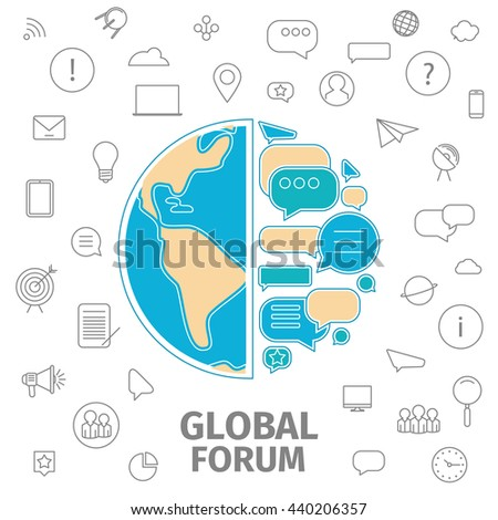 Line flat business illustration. Thin line concept of Global Forum. Dialog bubble as earth. Global business conception. Raster copy of file - stock photo