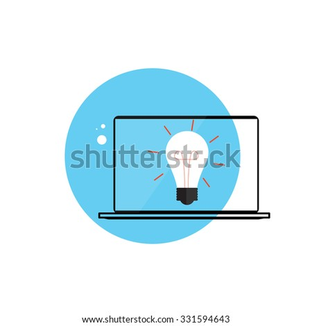 Line Icon with Flat Graphics Element of Idea Bulb and Laptop Computer Illustration - stock photo
