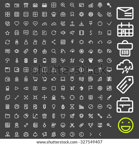 Line icons set. A large set of flat linear icons are ideal for your application and website on the topic of travel, shopping, calls, weather. - stock photo