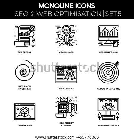 Line icons set with flat design of search engine optimization. Report, organic seo, monitoring, return on investment, page quality, keyword targeting, seo pakages, quality content, adverting service. - stock photo