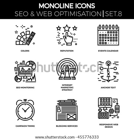 Line icons set with flat design of seo. Colors, reputation, events calendar, seo monitoring, internet marketing strategy, anchor text, campaign timing, blogging services, responsive web design. - stock photo
