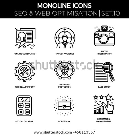 Line icons set with flat design of seo. Online consulting, target audience, photo presentation, support, network protection, case study, seo calculator, portfolio, reputation management. Monoline icon - stock photo