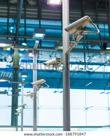 line of CCTV camera or surveillance operating  - stock photo