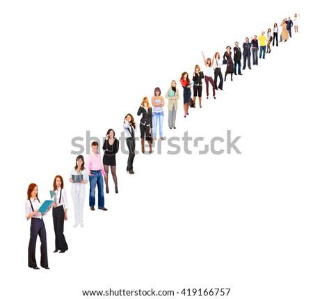 Line of Colleagues Office Idea  - stock photo