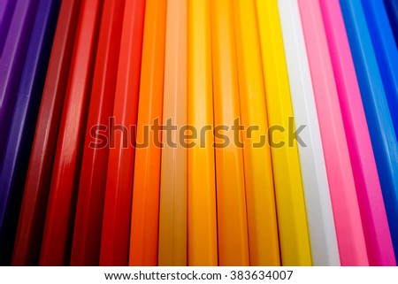 Line of colored pencils. Background of colored pencils for creativity closeup - stock photo