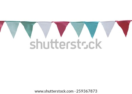 line of colorful party flags - stock photo