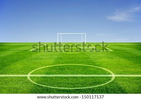 line of green Football field was beautiful - stock photo