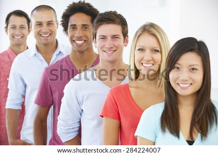 Line Of Happy And Positive Business People In Casual Dress - stock photo