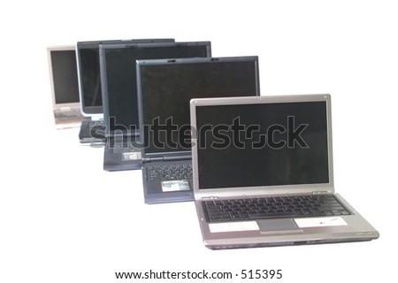 Line of laptop computers - stock photo