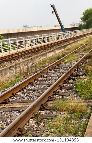 Line of railway in rural of Thailand - stock photo