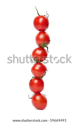 line of tomatoes isolated - stock photo
