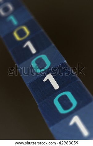 Line of Wooden Blocks with binary code - stock photo