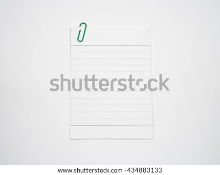Line paper note with clip. Blank paper note - stock photo