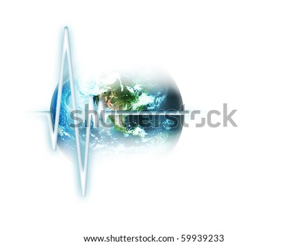 line pulse on the background of the planet  isolated on white - stock photo