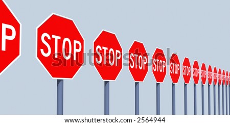 line traffic stop sign - stock photo