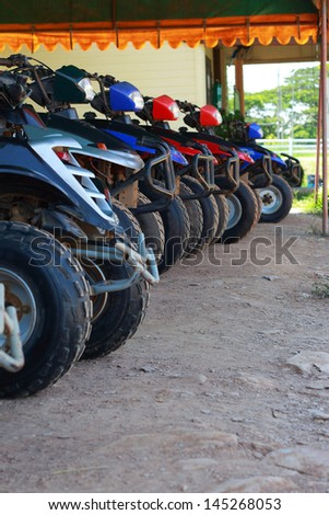 line up of offroad car - stock photo