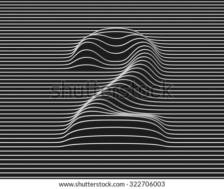 linear 3d font number 2 - stock photo
